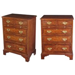Good Quality Pair of English George II Style Burl Walnut Bedside Chests
