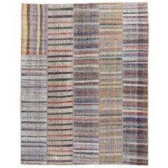 Vintage Anatolian Rag Rug with Colorful Stripes
