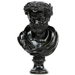 Italian Antique Bronze Sculpture Bust of a Roman Statesman, 19th Century