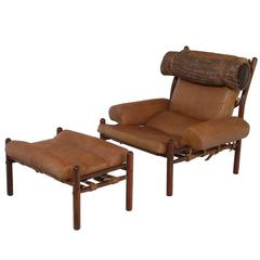 Armchair and Ottoman with Cognac Leather and Faux Fur Pillow by Arne Norell