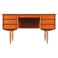 Danish Modern Executive Teak Desk with Bookshelf