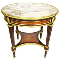 French 19 Centruy Louis XVI Style Ormolu-Mounted Marble-Top Gueridon Side Table