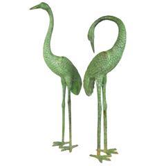 Pair of Patinated Bronze Garden Cranes