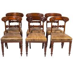 19th Century Set of Six Regency Mahogany Dining Chairs