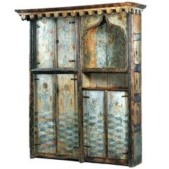 Rare Painted Wooden Cupboard with 16th Century Floral Decoration