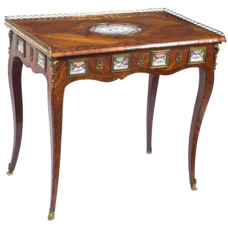 18th Century French Writing Side Table Porcelain Plaques For Sale