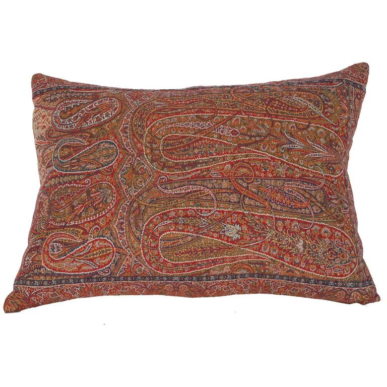 Early 19th Century Paisley Wool Pillow For Sale