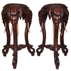 Unusual Pair of Carved Wood Side Table Pedestals with Elephant Motif