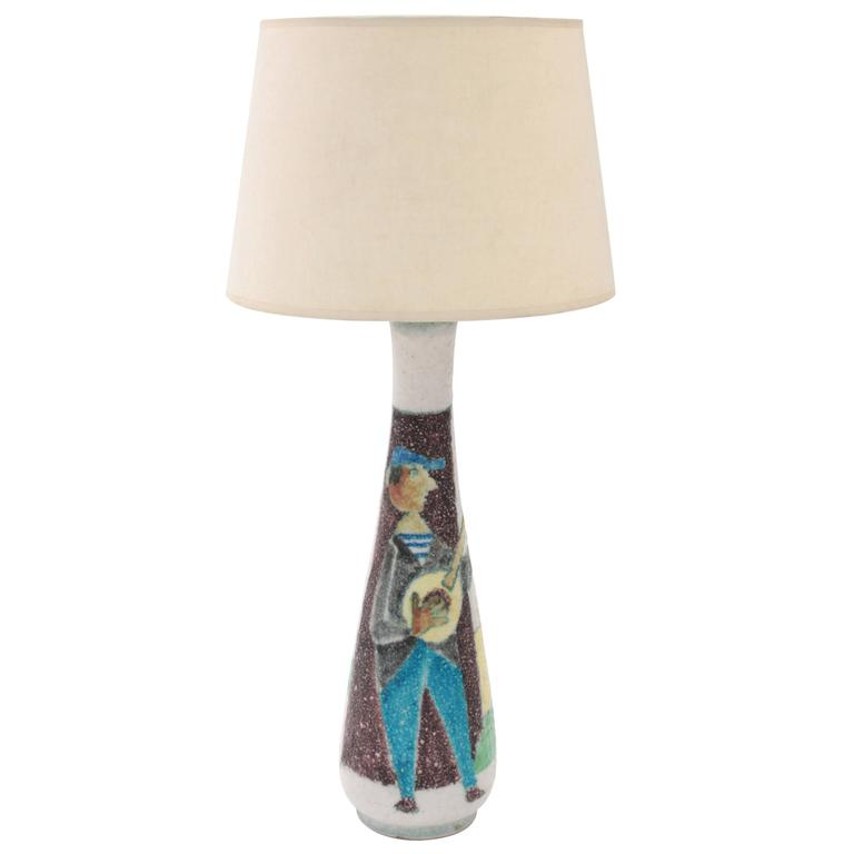 Studio Made Ceramic Table Lamp with Figural Decoration by Guido Gambone
