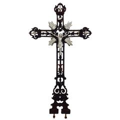 20th Century Art Deco French Architectural Cast Iron Cross Crucifix