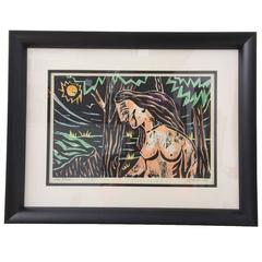 "Mid-Century Woodblock Print, ""The Bather"" by L. J. Miller, 1963"
