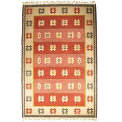 Vintage Swedish Flat-Weave Carpet Signed AW