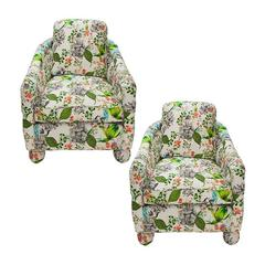 Barrel Chairs in Botanical Print Pair