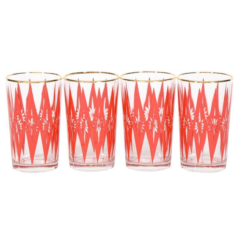 Mid century starburst glassware set of four for sale at 1stdibs - Starburst glassware ...