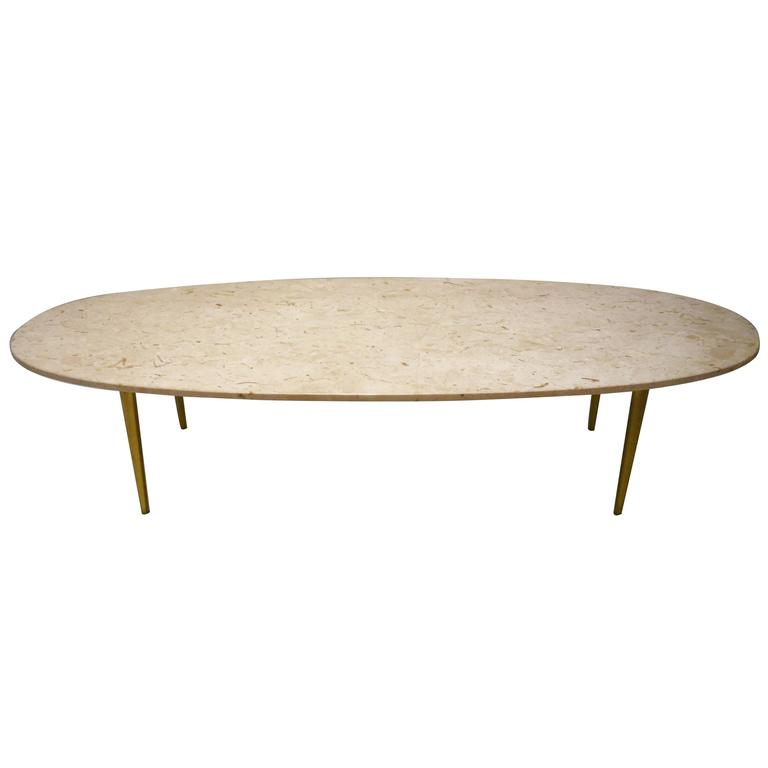 Mid Century Modern Marble Top Coffee Table: Mid-Century Modern Marble And Brass Large Oval Coffee