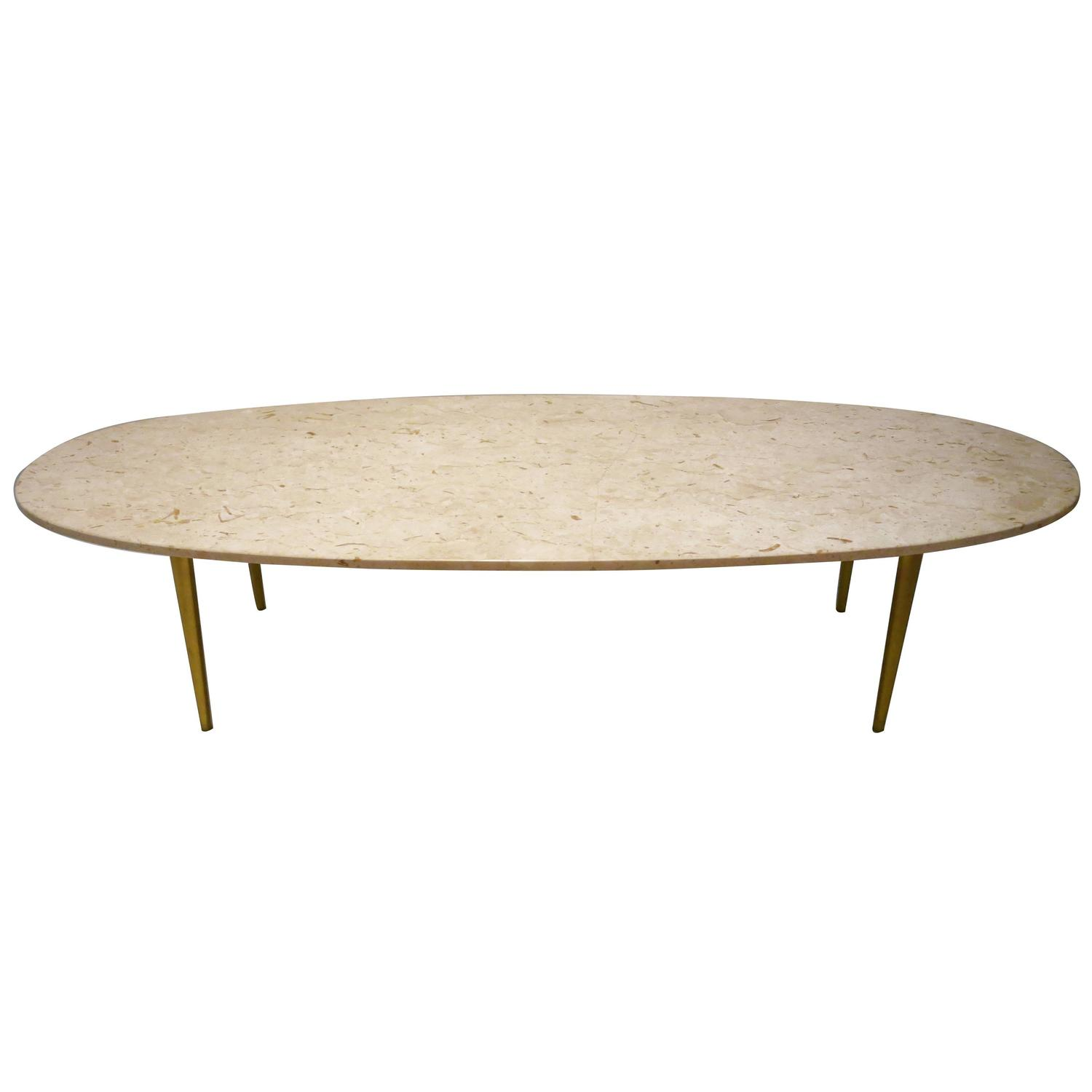 Mid century modern marble and brass large oval coffee for Mid century modern coffee table
