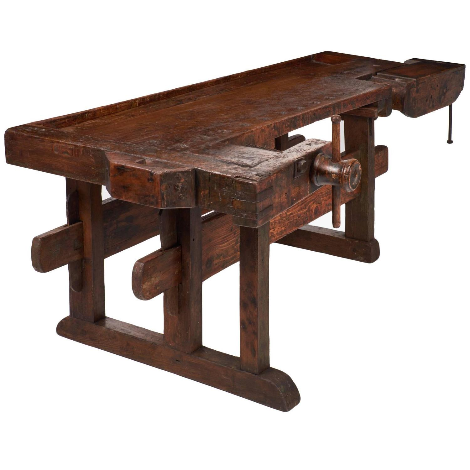Colossal Antique Alpine Ski Craftsman S Workbench At 1stdibs