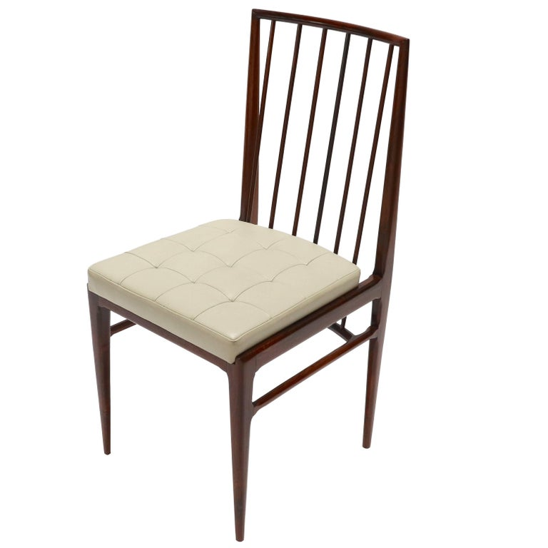 Set of Six 1940s Tenreiro Style Brazilian Jacaranda Dining Chairs For Sale