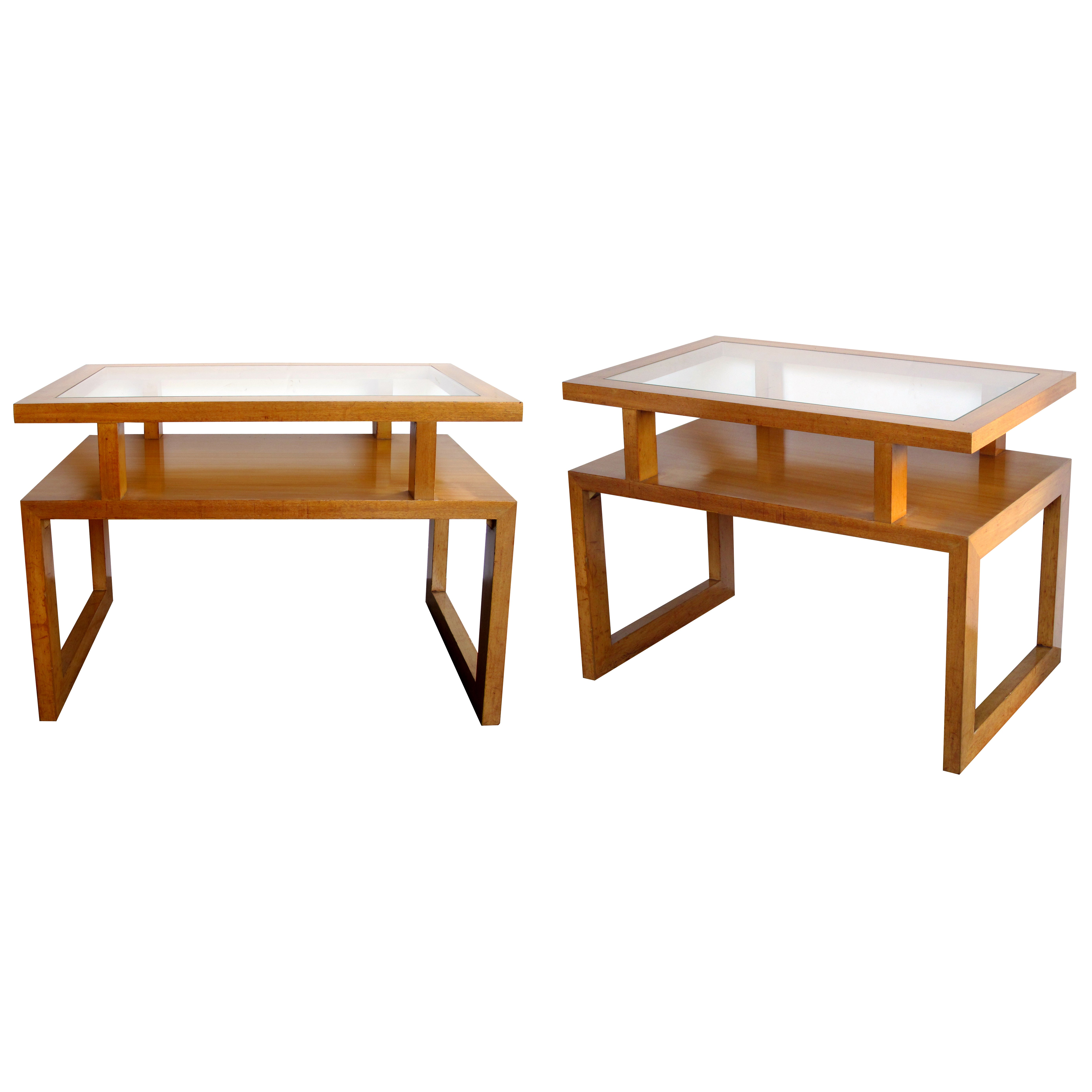 Pair Of American 1950s Maple Wood Rectangular End Side Tables
