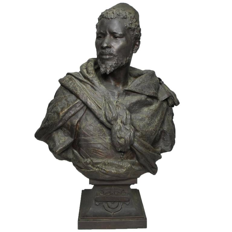 19th Century Lifesize Bronze Bust of Othello after Gaston Veuvenot Leroux