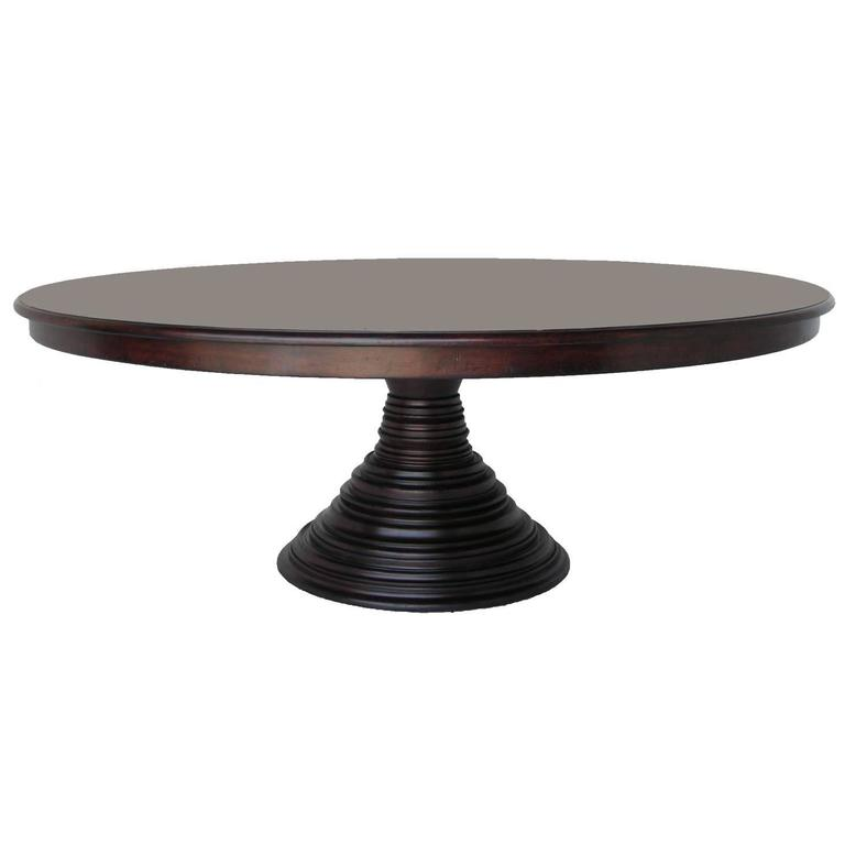 walnut wood round pedestal dining or center table for sale at 1stdibs