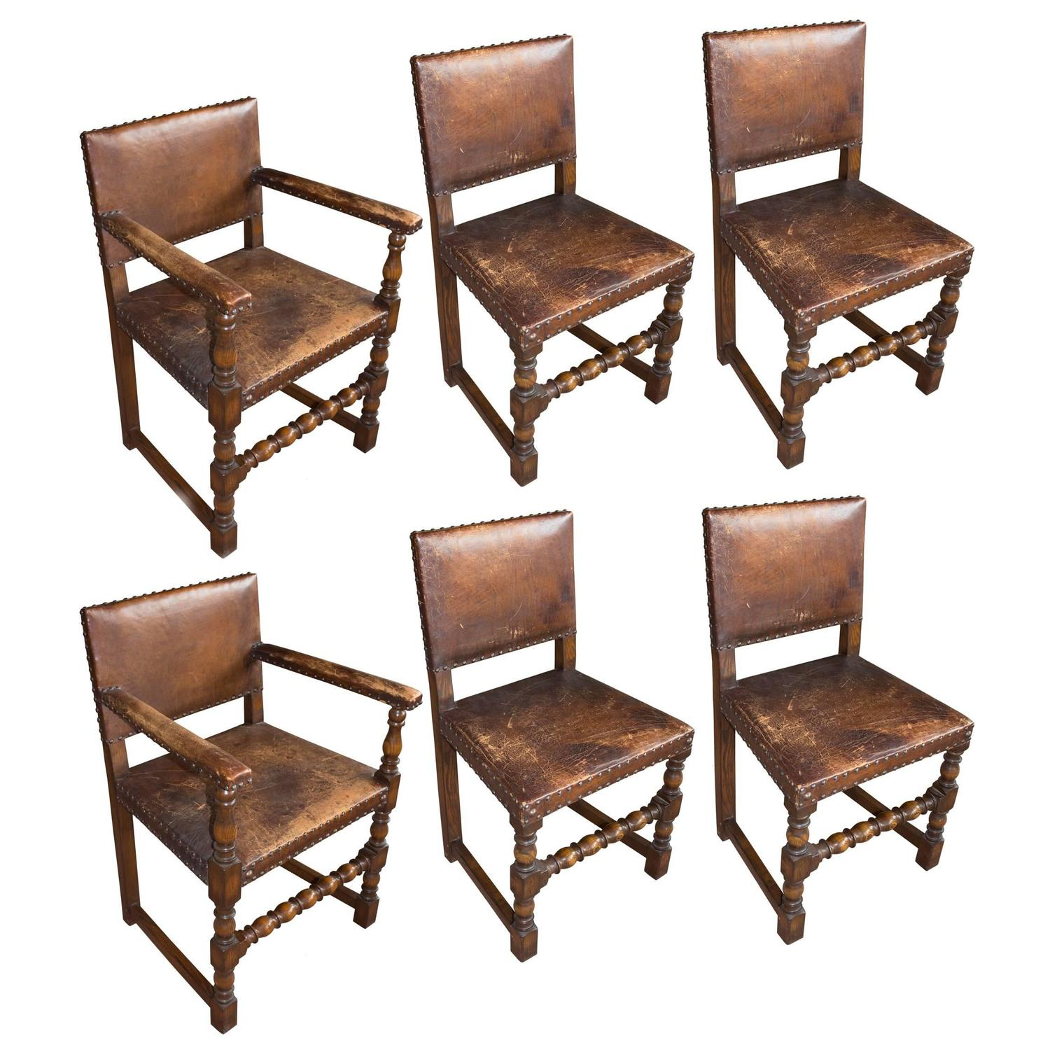Set of six antique english arts and crafts leather dining for Antique dining room chairs