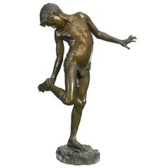"""Bronze Figure of a Boy Stepped on Crab Titled """"Il Granchio"""" by Annibale De Lotto"""