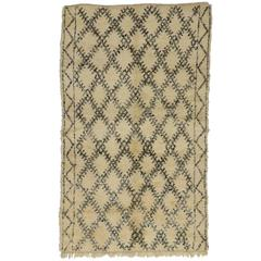 Mid-Century Modern Beni Ourain Moroccan Rug