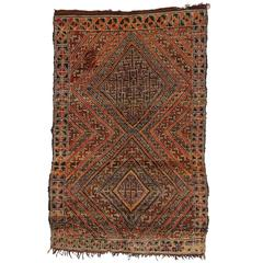 Berber Moroccan Rug with Tribal Design and Mid-Century Modern Style