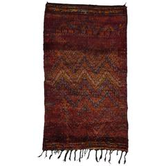 Berber Moroccan Rug in Rich Raspberry with Mid-Century Modern Style