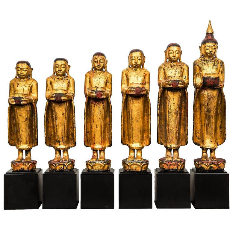 Burmese Gilt Wood Medicine Buddhas 20th Century At 1stdibs
