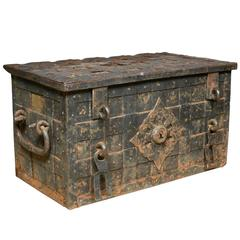 17th Century Iron Trunk with Locking Mechanism