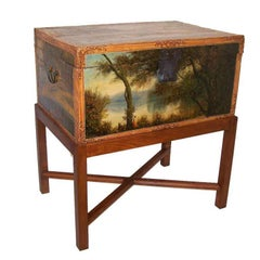 19th Century Chinese Hand-Painted Leather Trunk on Stand