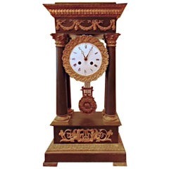 Empire Style Bronze Mantle Clock by Tiffany & Co.