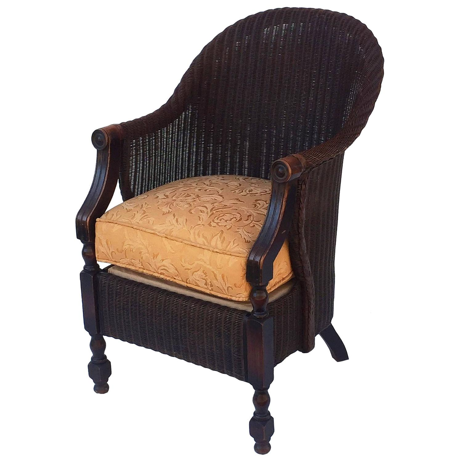 Large lloyd loom armchair with cushion seat at 1stdibs for H furniture loom chair