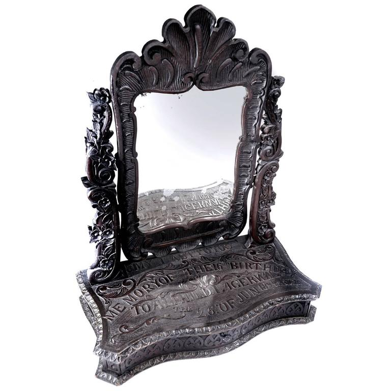 Elaborately Carved Tribute Folk Art Americana Mirror, 1894