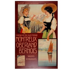 Original Antique Montreux Oberland Bernois Railway Travel Poster MOB Switzerland