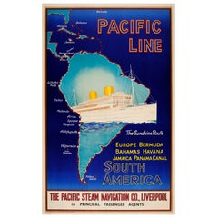Original Vintage Pacific Line Cruise Ship Poster Sunshine Route to South America