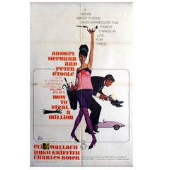 "Original 1966 Movie Poster for ""How to Steal a Million Starring Audrey Hepburn"""