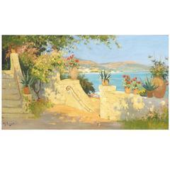 'Summer in Cannes' Oil Painting by Dutch Artist Arie Zwart