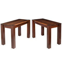 Phillip Lloyd Powell Pair of Console Tables in Walnut and Ebony, 1977