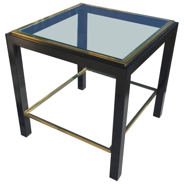 Petite Modernist Lacquered Steel and Brass Side Table, France, 1970s