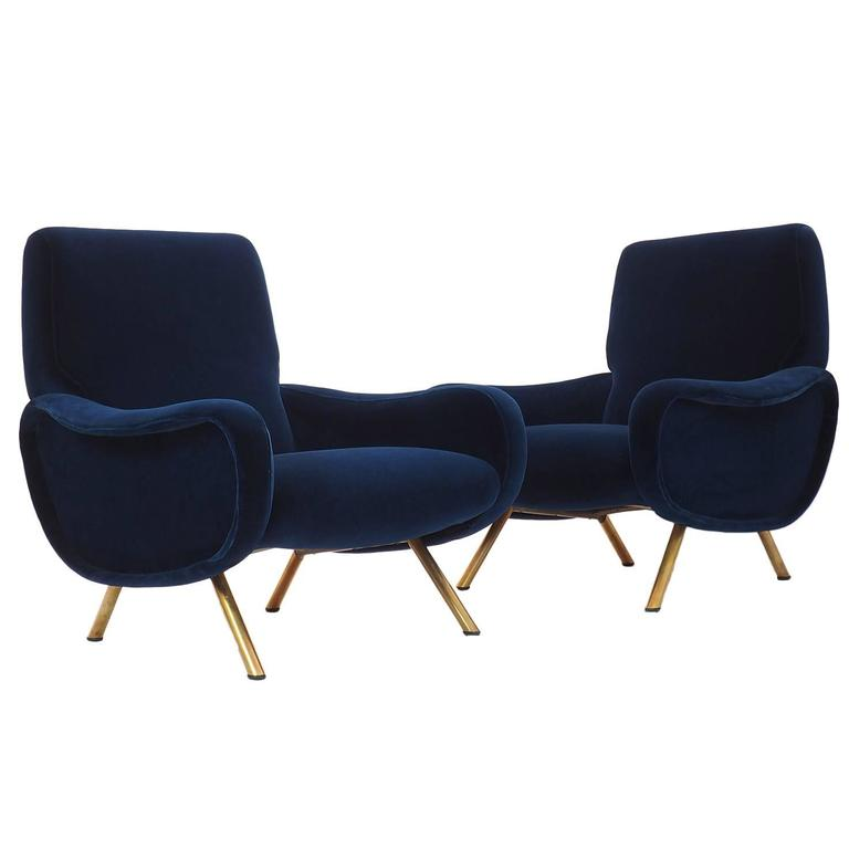 Italian Couple of Lounge Chairs Lady Designed by Marco Zanuso for ...