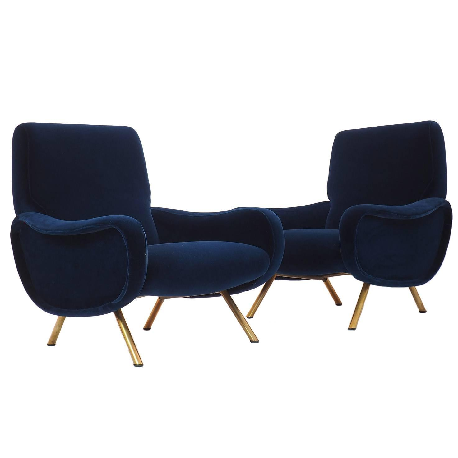 Italian Couple Of Lounge Chairs Lady Designed By Marco Zanuso For Arflex  Milano At 1stdibs