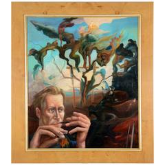 Surreal Portrait Unsigned in a Contemporary Frame