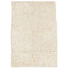 "Solid Ivory Mohair Wool ""Tulu"" Rug"