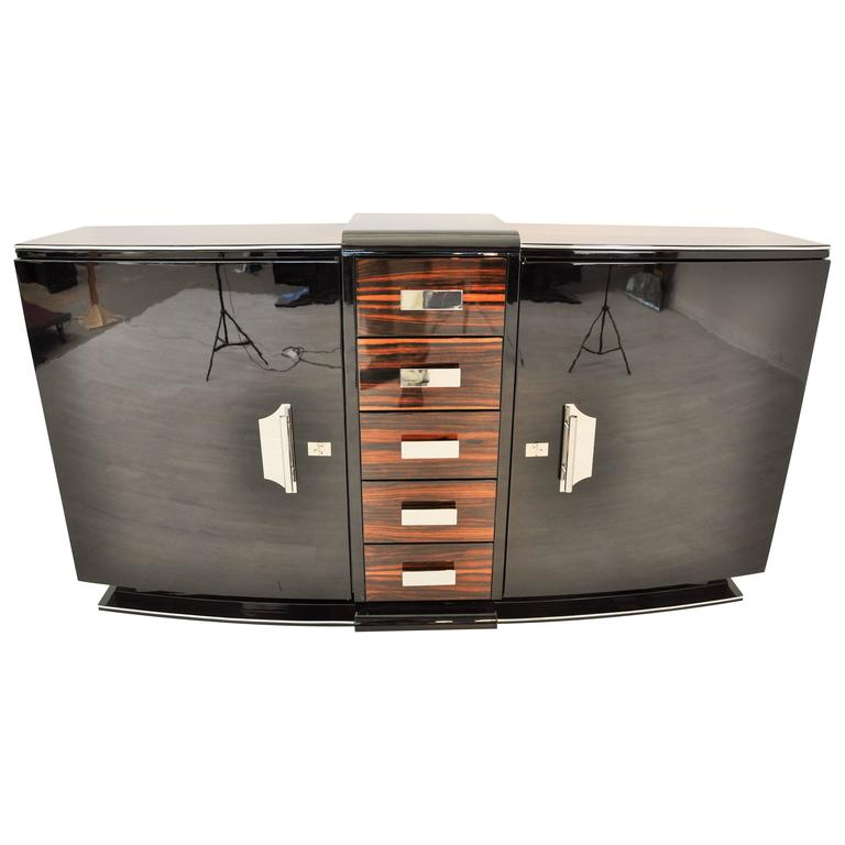 Curved Art Deco Style Sideboard with Macassar and Chrome Details For Sale