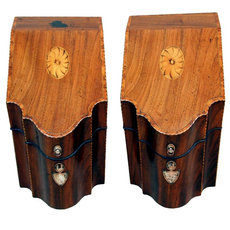 Antique Georgian Mahogany Pair of Knife Boxes For Sale