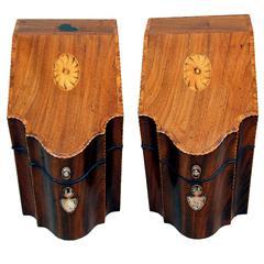 Antique Georgian Mahogany Pair of Knife Boxes