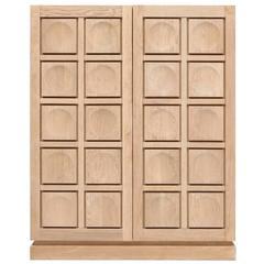 Brutalist Natural Oak Bar Cabinet